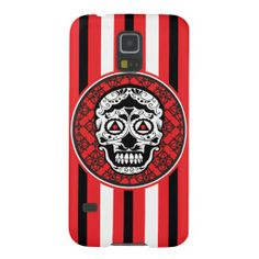 A Samsung Galaxy S5 case with a white Sugar skull style on black and red damask pattern with red white and black stripes