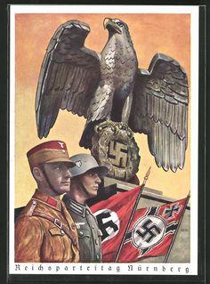 old postcard: Künstler-AK Nürnberg, Reichsparteitag, SA- & SS-Mann mit Hakenkreuzfahnen, Hoheitsadler