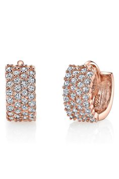 Montage 14K Rose Gold Designer Pave Crystal Small Hoop Earring