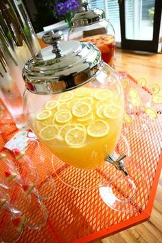 Baby Shower Drink--- Easy and pretty---Just make lemonade and add fresh sliced lemons and limes to the pitcher and you are set to impress.