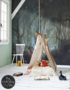 During autumn season forest is a magical place to be, Dark Forest removable wall mural - a wonderful kids room decor inspiration