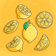 Fresh lemon fruits with cute colored doo. Lemon Drawing, Body Drawing, Doodle Icon, Doodle Art, Color Limon, Fruit Doodle, Flower Art Drawing, Lemon Art, Fruit Icons