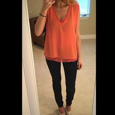 ⚡️SALE⚡️ NWT Zara chiffon tank blouse small S NWT from Zara; size small and runs a bit large but is intended to be oversized. Deep v-neck front with drop-arms. Orange and pink sherbet chiffon layers which are semi sheer. ⚡FLASH SALE - LIMITED TIME ONLY (select items apply)⚡️ +10% bundle discount! Zara Tops Blouses