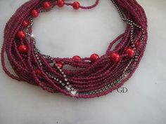 Chunky layered/Wedding/valentines day/fuchsia bead/ by galladesign, $60.00