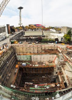 https://flic.kr/p/AskFc6 | Bird's-eye view of Bertha's finish line | Taken from the roof of the SR 99 tunnel's north portal operations building, this October 2015 photo provides a bird's-eye view of the pit where the SR 99 tunneling machine will complete its journey under downtown Seattle. Learn more about the Alaskan Way Viaduct Replacement Program at www.alaskanwayviaduct.org or follow Bertha, the SR 99 tunneling machine, on Twitter @BerthaDigsSR99.
