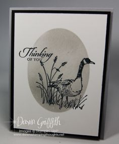 """By Dawn Griffith. Uses stamps from """"Wetlands"""" and uses """"Hardwood,"""" both my Stampin' Up. Video tutorial on website."""