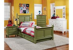 picture of Belmar Green 5 Pc Twin Poster Bedroom  from Teen Bedroom Sets Furniture