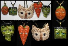 Owl, Frankenstein and Pumpkins Faces Polymer Clay by KabiDesigns on deviantART