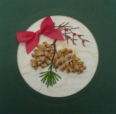 Silk Ribbon embroidery trees | Silk ribbon pine cones card by *fairyfrog on deviantART