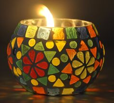 Decorative Handcrafted Glass Candle Holder For Room Décor 3 Inch Multi Color *** Quickly view this special product, click the image : Wedding Decor Candle Holder Decor, Glass Candle Holders, Mosaic Art, Mosaic Glass, Vitromosaico Ideas, Mosaic Bowling Ball, Mosaic Bottles, Glass Painting Designs, Candle Stand