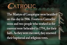 #MartyrsofCompiegne #martyrs #Carmelite. they were martyr during the French revolution