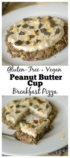 Peanut Butter Cup Breakfast Pizza is a decadent and delicious breakfast that you would NEVER guess is healthy! It's only made with 5 real ingredients and takes less than 15 minutes to make! Also a vegan and gluten-free friendly breakfast! Gluten Free Breakfasts, Gluten Free Desserts, Dairy Free Recipes, Vegan Gluten Free, Real Food Recipes, Snack Recipes, Yummy Food, Delicious Recipes, Brunch Recipes