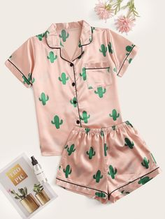 Cactus Print Satin Pajama Set Type: Loungewear Color: Multicolor Style: Casual Season: Summer Material: Polyester Shoulder: XS: 39 cm, S: 40 cm, M: 41 c Cute Lazy Outfits, Teenage Outfits, Teen Fashion Outfits, Girl Outfits, Stylish Outfits, Cute Pajama Sets, Cute Pjs, Cute Pajamas, Flannel Pajamas