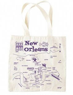 New Orleans Map Tote, great for wedding favor bags