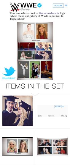 """""""TWITTER: WWE Posts Pictures Of Amelia In High School"""" by stonecoldamelia ❤ liked on Polyvore featuring art"""