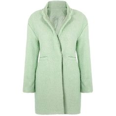 Yoins Coat with Fluffy Detail ($49) ❤ liked on Polyvore featuring outerwear, coats, jackets, yoins, green, green coats and matte coat