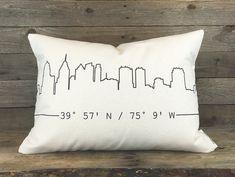 City Skyline Coordinates Pillow, Custom Pillow, Housewarming Gift, Home Pillow, Gift for Best Friend, Throw Pillow, Dorm Decor, State Pillow