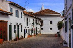 Villa de Leyva, Colombia - Sunday morning; 16th Century town stock photo