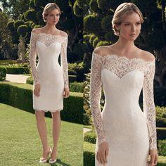 Barato Elegante do casamento vestidos de noiva com mangas vestidos de noiva…