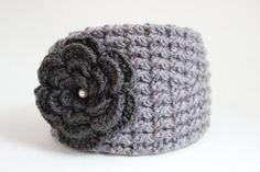 Gray womens Crochet Headband/ Crochet Flower Headband by Rouve, $25.00