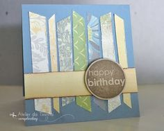 Cartão artesanal com tiras de papel decorado {Birthday card using stripes of paper} #DIY #Tutorial #PAP #cardmaking #papercraft