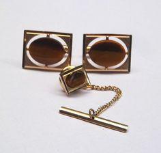 Swank Gold Tone with Brown Stone Cuff Links by GentlemansEmporium, $23.00