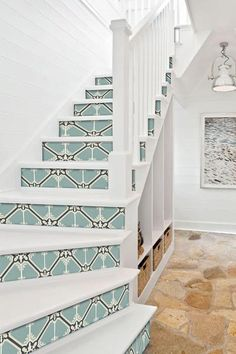 Quadrostyle is the leader in vinyl tile stickers for your floors, walls, backsplash and stairs. Update your home with easy to apply peel and stick decals. Stairs Edge, Tile Stairs, Peel And Stick Tile, Stick On Tiles, Vinyl Tiles, Vinyl Flooring, Celadon, Stair Risers, Stairways