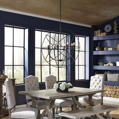 French Farmhouse Grey Dining Table love the blue walls Dining Table Sale, Grey Dining Tables, Farmhouse Dining Room Table, Dining Room Furniture, Dining Rooms, Grey Table, Kitchen Tables, Dining Sets, Dining Area