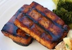 Maple Balsamic BBQ Tofu. I cut the maple syrup to 3 tablespoons -- tasted great.
