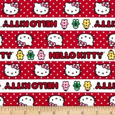 Hello Kitty Holiday Gingerbread Stripe Red/White from @fabricdotcom  Designed by Sanrio and licensed to Springs Creative Products, this cotton print is perfect for quilting, apparel and home decor accents.  Colors include white, black, red, pink, yellow and green.  This stripe is printed horizontal to the selvedge.<P><P>Due to licensing restrictions, this item can only be shipped to USA, Puerto Rico, and Canada.