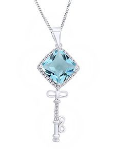 SquareCut Princess Aqua Cubic Infinity Key Style Pendant In 925 Sterling Silver by Jewel Zone US ** You can get more details by clicking on the image.Note:It is affiliate link to Amazon.