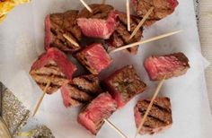 This steak on sticks recipe makes a delicious party food option that is tender, simple and yummy. Make sure you serve your steak pieces with tangy dips such as tangy BBQ dip or a cheese fondue for extra flavour.Get the recipe: Steak on sticks Easy Canapes, Canapes Recipes, Snack Recipes, Appetizers, Canapes Ideas, Savoury Recipes, Tea Recipes, Christmas Canapes, Christmas Buffet