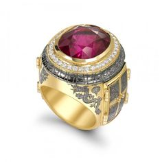 18CT YELLOW GOLD 15.51CT RUBELLITE & 0.50CT DIAMOND CHINESE OPENING RING ENAMELED BUDHA AND DRAGON. SIZE O. IN A DRAGON PRINT CASE by THEO FENNELL