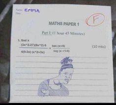 Respuestas graciosas dentro de una ecuación en un examen donde colocan un dibujo de una chica