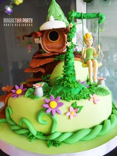 "Photo 1 of Tinkerbell & Fairies / Birthday ""Tinkerbell y un mundo de… Tinkerbell Birthday Cakes, Fairy Birthday Cake, Tinkerbell Party, 3rd Birthday, Pirate Fairy Cake, Bolo Tinker Bell, Fairy House Cake, Tinkerbell Fairies, Fairy Cakes"