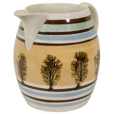 A Large Mocha Ware Banded Jug | From a unique collection of antique and modern pitchers at http://www.1stdibs.com/furniture/dining-entertaining/pitchers/
