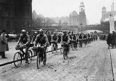 A French Bicycle Brigade Rides through Essen (1923)