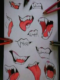 Mouth Drawing, Drawing Base, Manga Drawing, Drawing Lessons, Drawing Techniques, Drawing Tips, Anime Drawings Sketches, Cool Drawings, Drawing Expressions