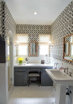 bathrooms - Kelly Wearstler Charcoal Imperial Trellis Wallpaper JCP Cindy Crawford Trellis Faux Bamboo Stool Restoration Hardware Sconces and Lamps Plus Shades The Shade Store Roman Shades Faux Bamboo Mirrors charcoal gray bathroom