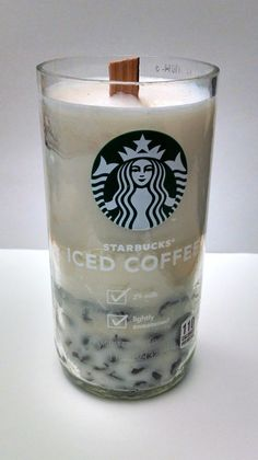 Re-purposed Handmade Starbucks Candles, Soy Wax, Pillar, Wood Wick, Coffee Scent #Handmade