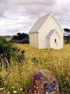 Presbyterian Church. Little white church in the meadow.