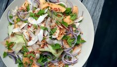 Crab and Cantaloupe Salad with Ginger and Mint Dressing Recipe - NYT Cooking Healthy Junk, Healthy Eating, Cantaloupe Salad, Soup Starter, Meat Fruit, Easy Summer Salads, Dressing Recipe, Salad Dressing, Recipe Boards