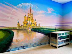 Best Ideas for baby girl nursery princess disney wall murals - Disney themed nursery, Mural Da Disney, Disney Wall Murals, Casa Disney, Nursery Wall Murals, Disney Home, Bedroom Murals, Disney Diy, Disney Girls, Princess Mural