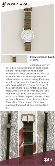🆕 Listing! J. Crew Timex Watch New Listing! Timex women's watch sold at J. Crew. Army green watch band. Such a classic. Please note that the battery does not work in this and will need replaced, priced accordingly. Otherwise good condition. J. Crew Accessories Watches