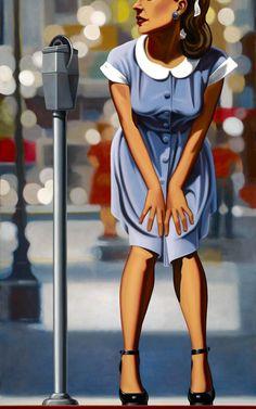 """Kenton Nelson (b 1954, USA) - Curbside, oil on canvas, 72x36"""""""
