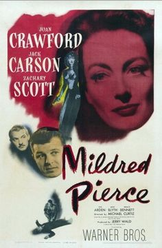 Mildred Pierce is a 1945 American film directed by Michael Curtiz, starring Joan Crawford, Jack Carson and Zachary Scott and featuring Eve Arden, Ann Blyth and Bruce Bennett. This film noir about a long-suffering mother who despite her devotion and hard work is treated horrendously by her ungrateful daughter. Joan Crawford won the Best Actress Academy Award  for her portrayal of the title character.