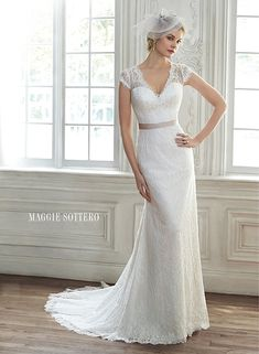 Romantic lace sheath dress with illusion lace back and cap-sleeves, Audrianna by Maggie Sottero.