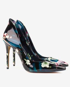 Fuchsia Floral patent leather court shoes - Dark Blue | Shoes | Ted Baker