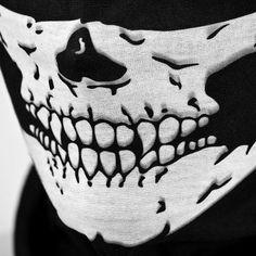 Black Seamless Skull Face Tube Mask BUFF  #URBANSOURCE #TUBEMASK