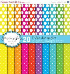40% OFF SALE 20 polka dot brights digital paper pack, commercial use, scrapbook papers - PGPSPK610. $2.37, via Etsy.